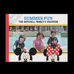 Disney Family Adventures photo book style with a picture of a family and Mickey Mouse and Minnie Mouse on the cover