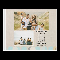 Family Favorites by Lure Design custom photo book style with two pictures of a family on the cover