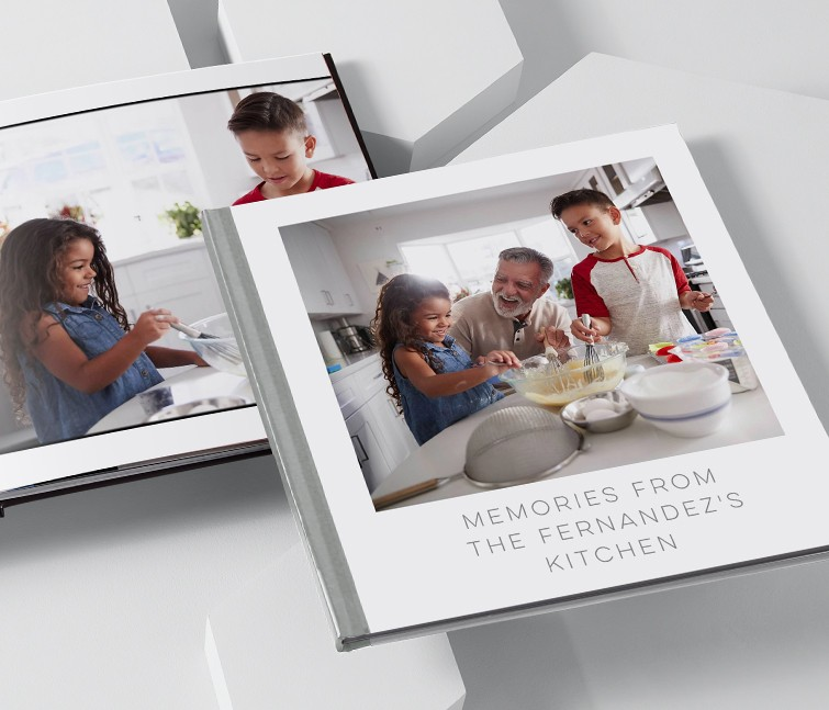 Custom family photo albums with pictures of a family baking together