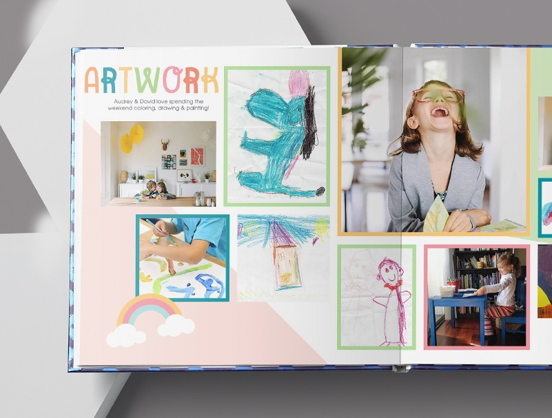 A photo book filled with pictures of children and kids artwork