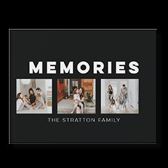 Modern Photo Album custom photo book style with three pictures of a family on the cover