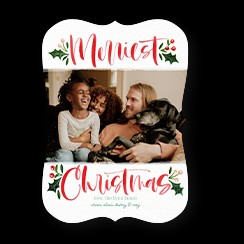 A custom Christmas card that says Merriest Christmas with a photo of a familys