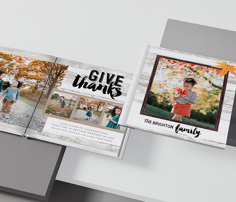 Seasonal personalized photo book for Thanksgiving with pictures of a young girl in the fall