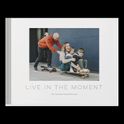 Simply Modern custom photo book style with a picture of a family on the cover