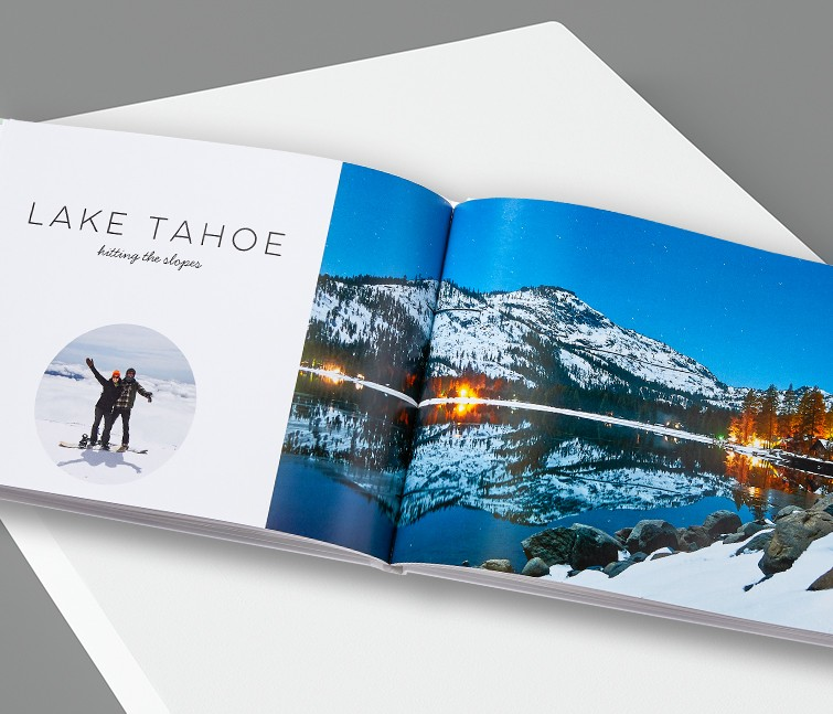 A travel photo album with pictures of a vacation at Lake Tahoe
