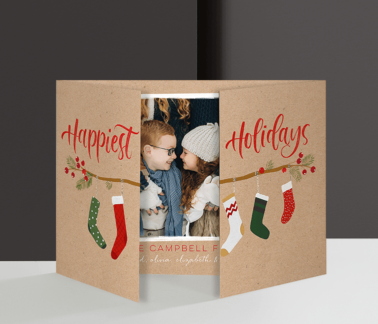 Gate Fold cards bring shine to unique holiday cards.