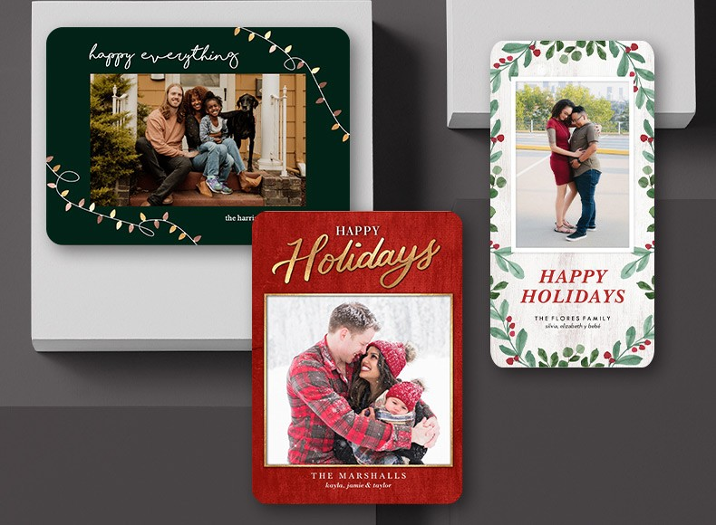 Create custom company holiday cards on a budget with Shutterfly.