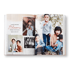 A personalized photo book filled with pictures of a family