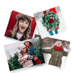 Four printed photos of a family celebrating the holidays in the snow