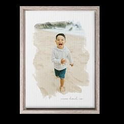 Brush strokes design canvas wall art with little boy running