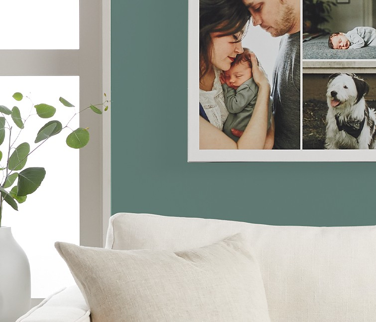 Collage canvas print with photos of family and dog as living room wall decor