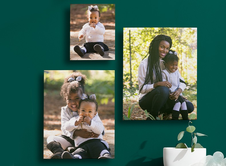 Custom size canvas prints in large canvas and small canvas sizes arranged in gallery wall