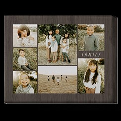 Alternative Text: Collage canvas photo print of family on grey background