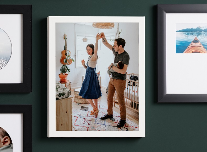 Framed personalized canvas print of couple dancing as home and wall decor