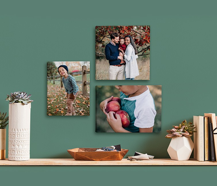 Small format canvas prints arranged in gallery wall decor