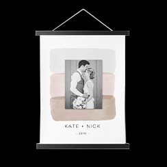 Hanging canvas print featuring watercolor design and black and white wedding photo