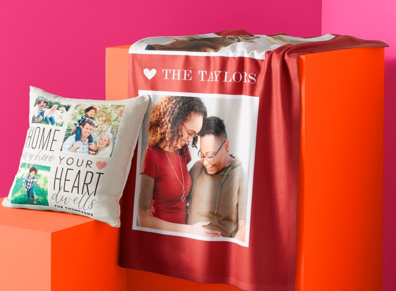 Home decor like custom fleece blankets and pillows make your home warm and cozy for Valentine's Day.