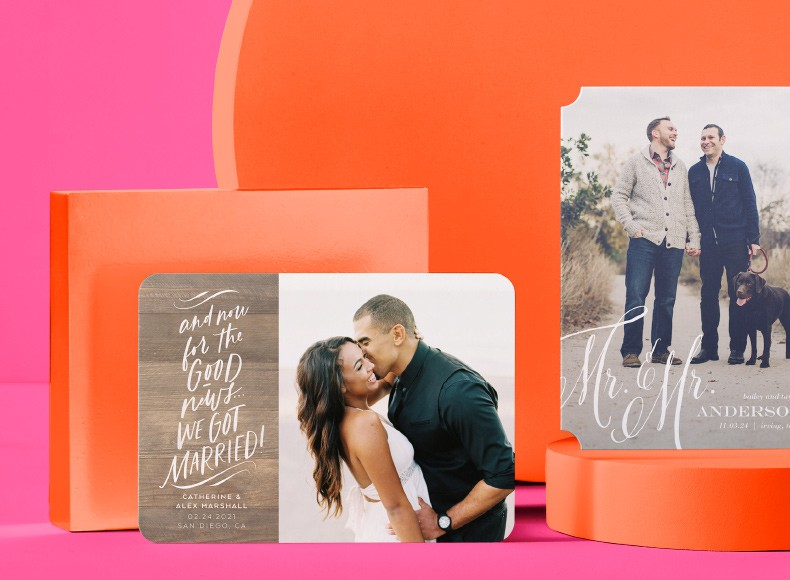 Shutterfly wedding and engagement announcements of happy couples sharing their news.