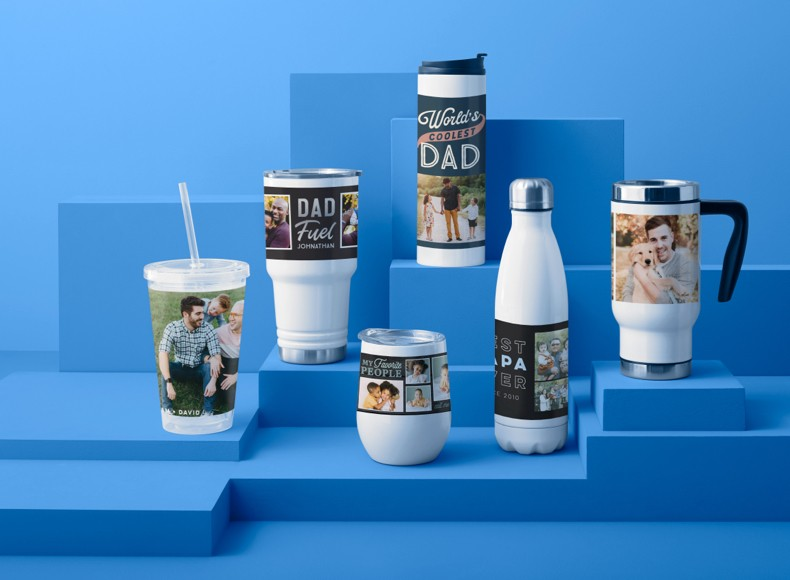 Say Happy Father's Day son with gifts for dads like personalized travel mugs.