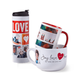 Valentine's Day mugs, custom travel mugs, and more great gifts for Valentine's Day.