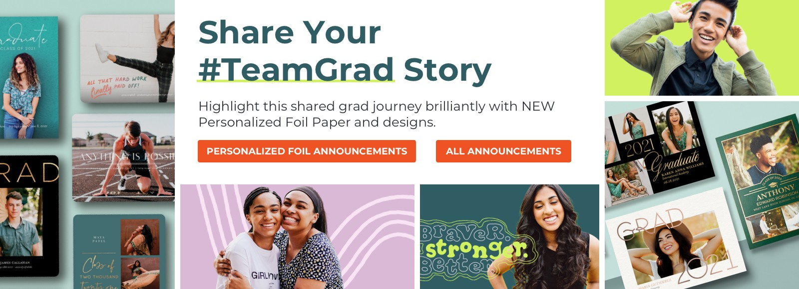Highlight this shared grad journey brilliantly with NEW Personalized Foil Paper and designs.