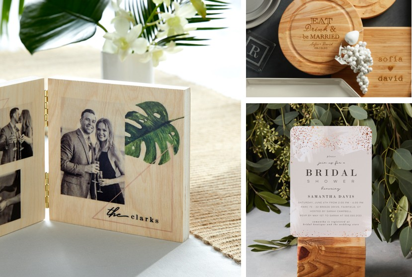 Make personalized bridal shower gifts like wooden cutting boards and pictures of the happy couple.