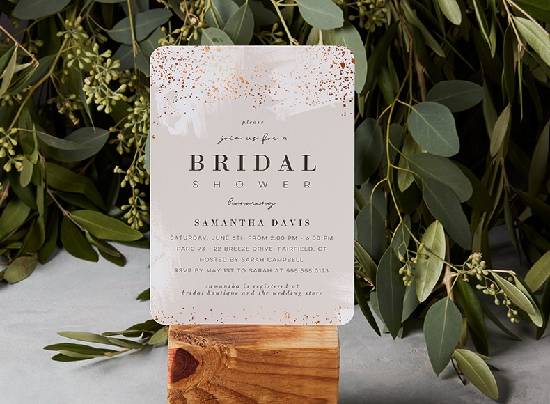 Bridal shower invites and cards to welcome bride and guests to the party.