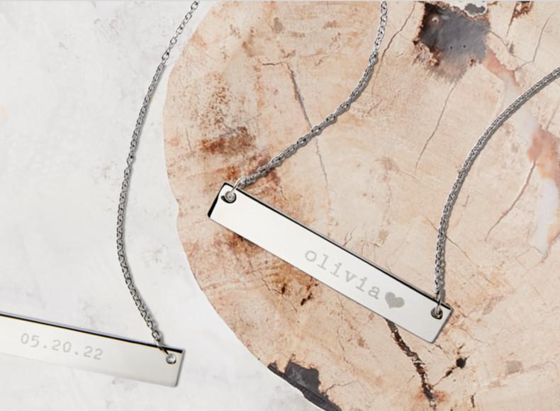 Keepsake bridal shower gifts like custom engraved jewelry are heartfelt gifts ideas.