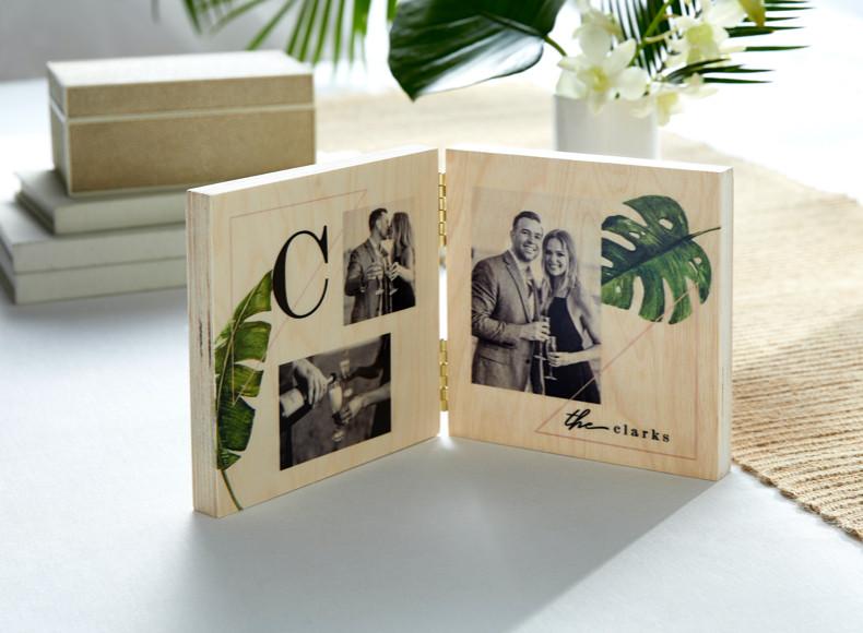 Make personalized bridal shower gifts like framed prints and desktop plaques.