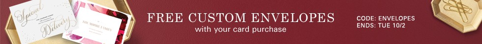 Free Custom Envelopes with your card purchase - Code: ENVELOPES - Ends: 10/2