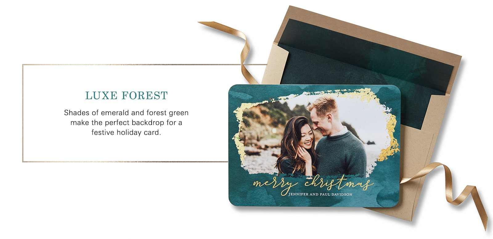 luxe forest merry christmas card