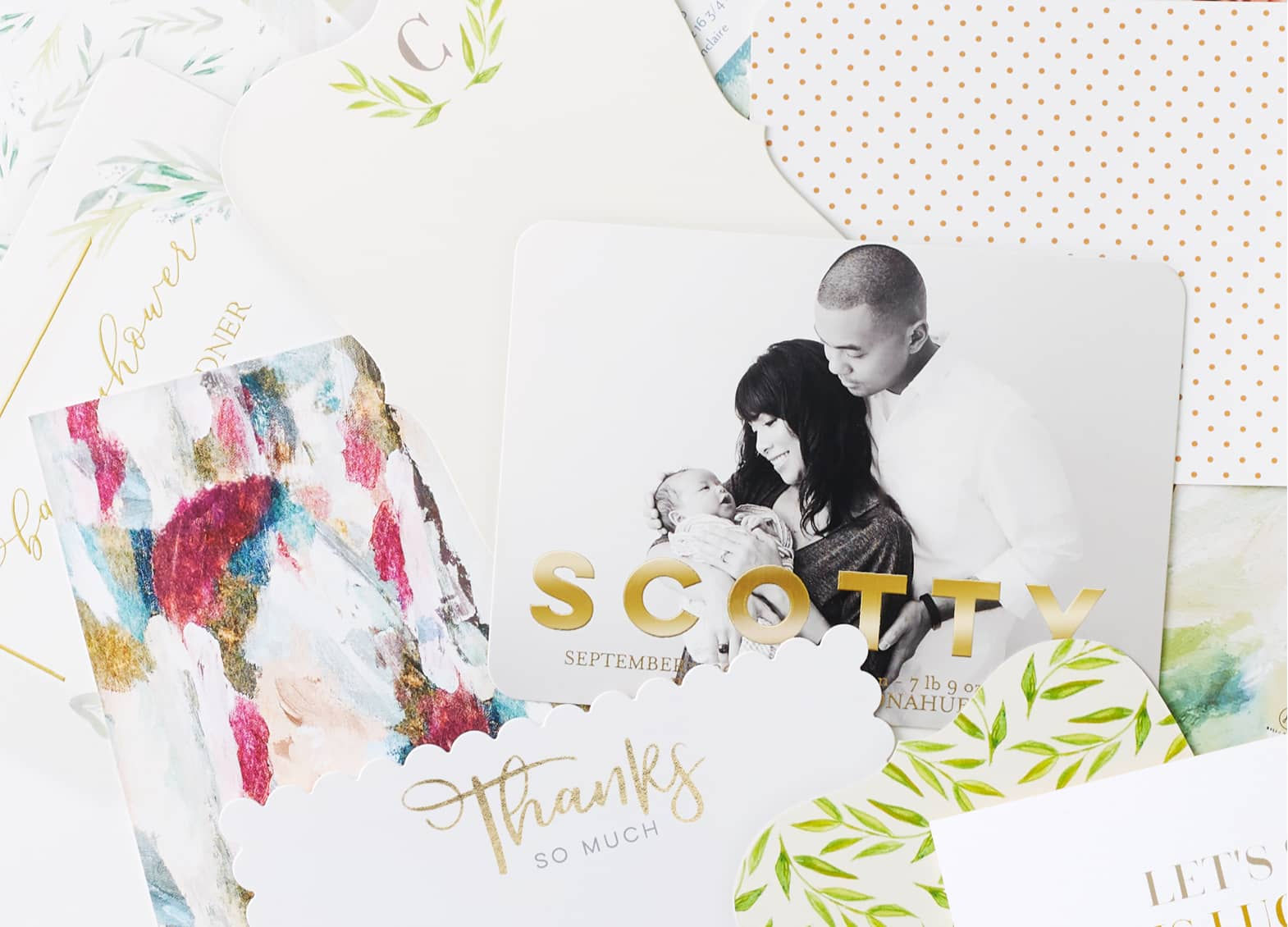 Custom greeting cards with rich colors, foil, and custom envelopes