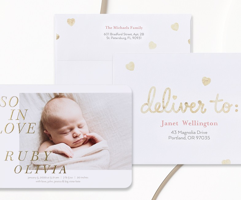 Custom Birth Announcements With Free Address Printing