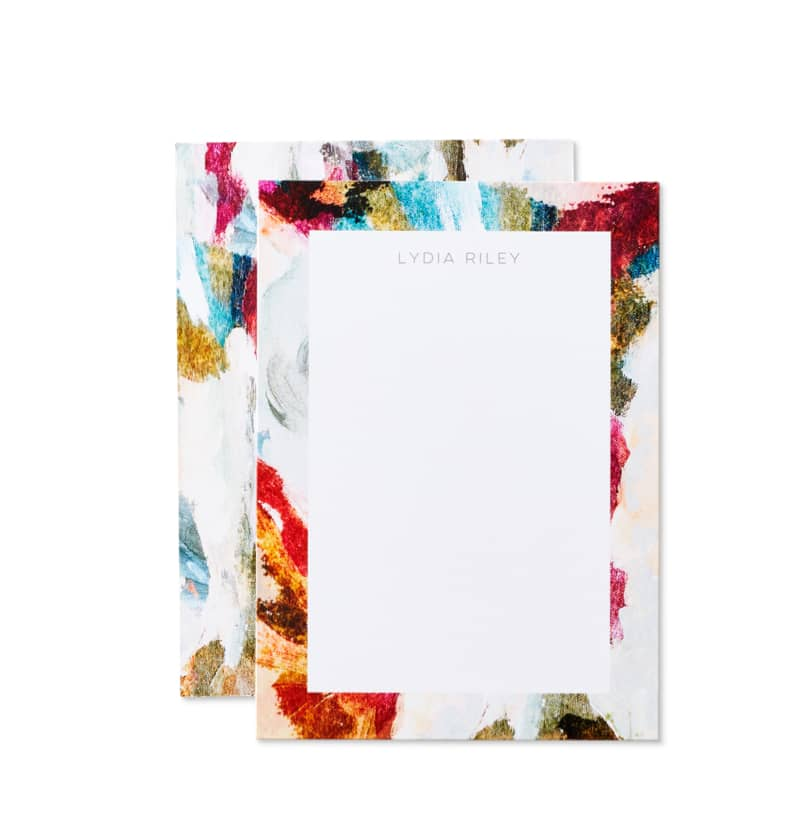 Colorful personalized stationery cardstock with room to add a name at the top