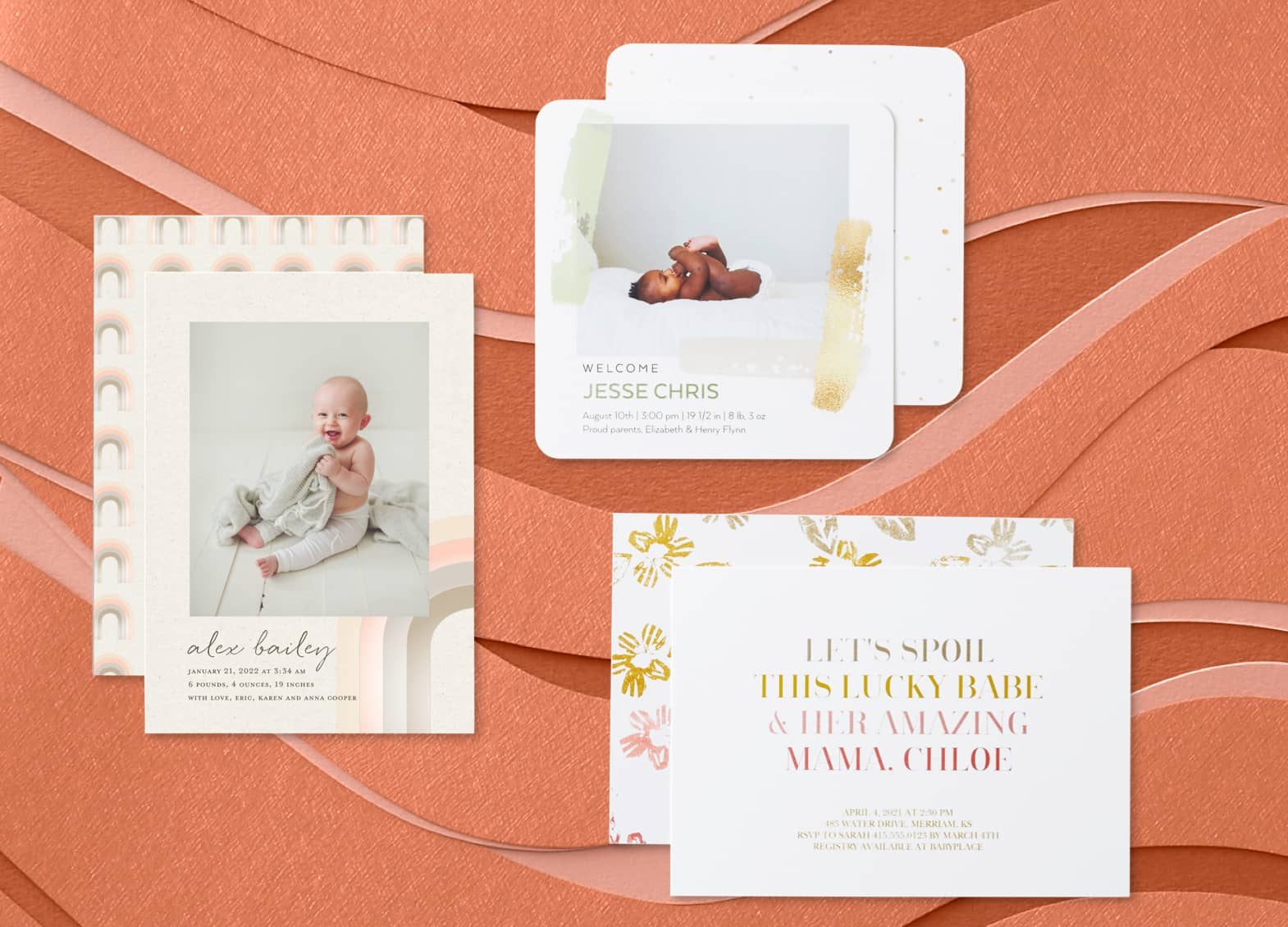 Premium personalized stationery with baby cards